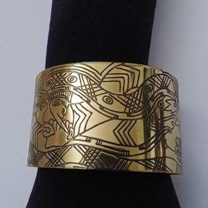 Gold tone Aztec print cuff bracelet